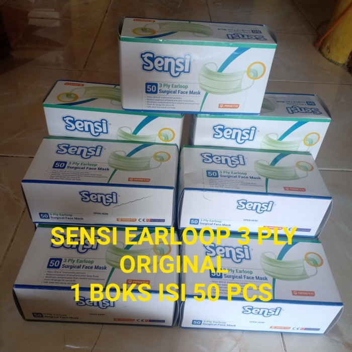 Foto Produk READY MASKER SENSI EARLOOP 3 PLY ASLI ISI 50 Pcs - Hijau dari Rafi_Sas Store