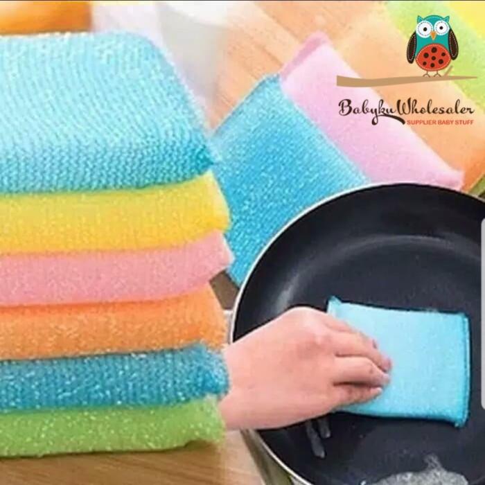 Foto Produk spons cuci piring warna warni / sponge cuci piring warna dari BABYKU WHOLESALER