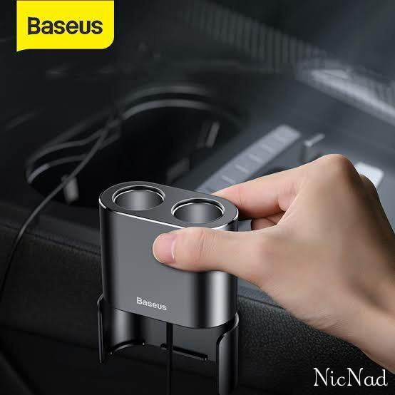 Foto Produk Baseus Car Charger Dual USB Cigarette Lighter Port Charger Mobil - Hitam dari NicNad Digital Store
