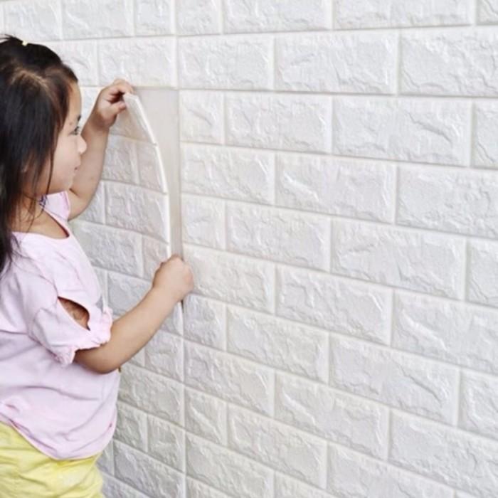 Jual Wallpaper Dinding 3D Foam Bata Putih Waterproof Brick