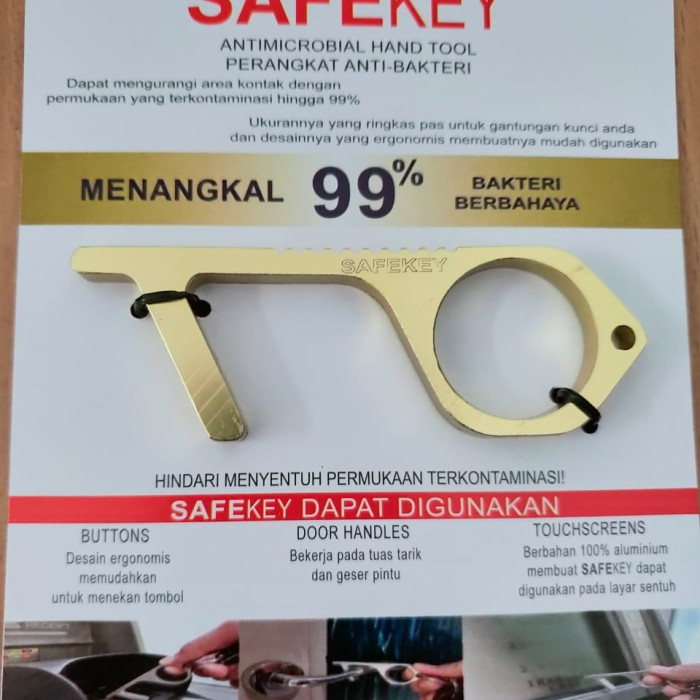 Foto Produk SAFEKEY by Malibu (Corona Finger) / CoFing / Gantungan kunci corona - Gold dari The Plug