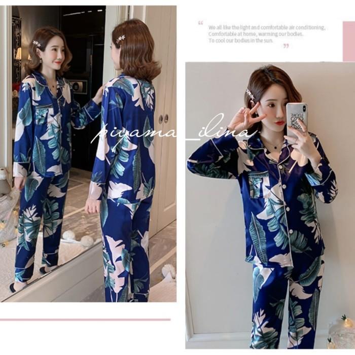 Foto Produk piyama dewasa wanita bahan satin premium import 003 - Biru, M dari piyama ilina