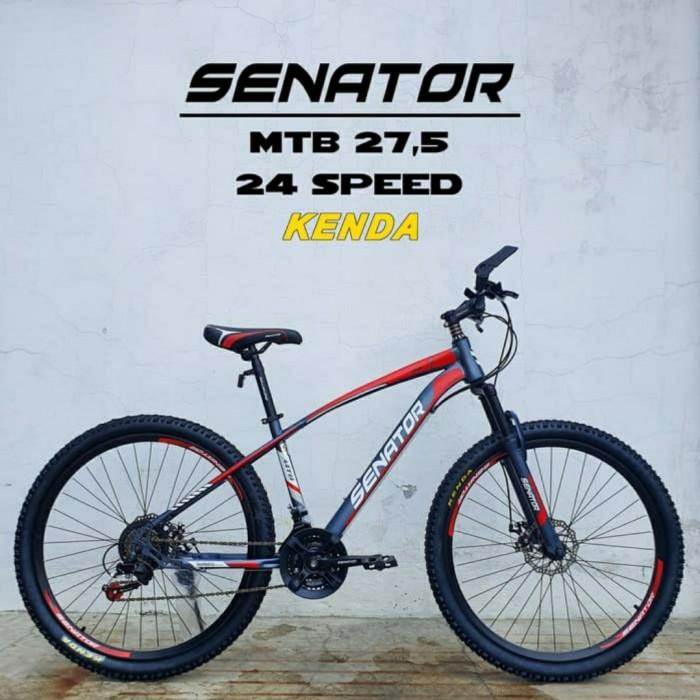 Foto Produk SEPEDA GUNUNG MTB 27.5 SENATOR 24 SPEED - Grey Red dari bikewarehouse