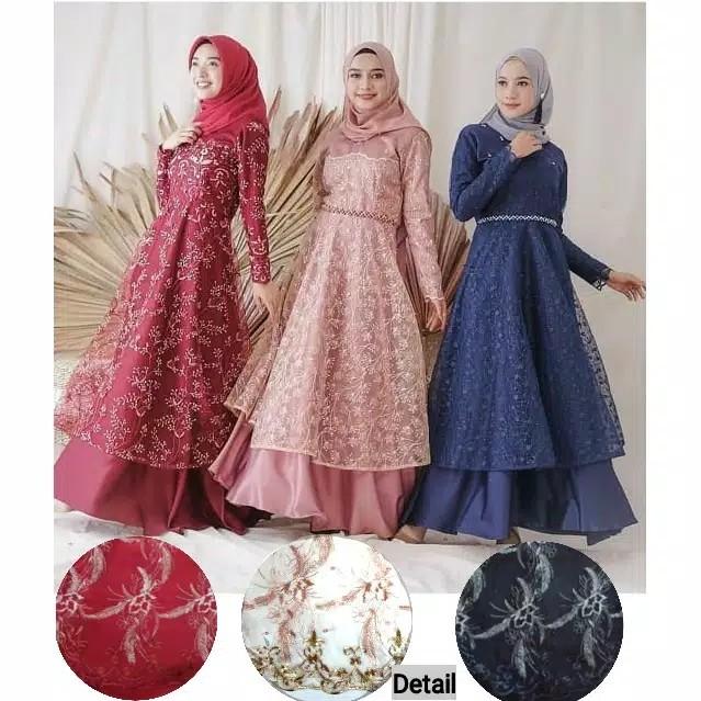 Jual Gamis Brokat Mutiara Gaun Pesta Muslim Longdress Remaja Abg Abaya Maxi Jakarta Utara Fifa Shoping Tokopedia