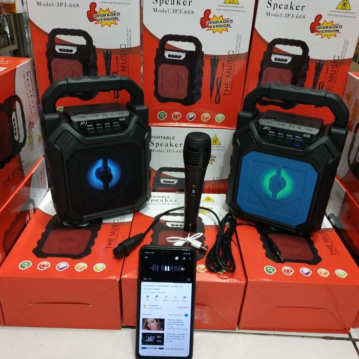 jual speaker bluetooth portable jpj 668 free mic kabel karaoke high quality jakarta timur mantapdaya tokopedia