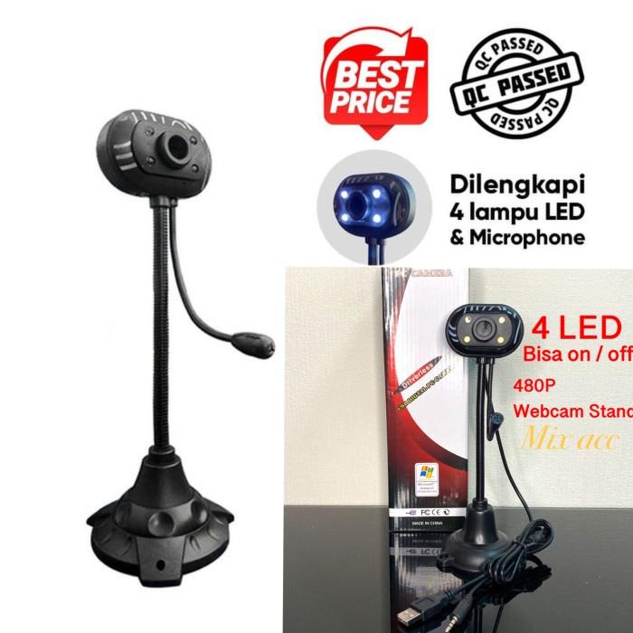 Foto Produk J04 Webcam Stand 4 Lampu LED + Microphone web cam pc mic bult in dari Mix acc88