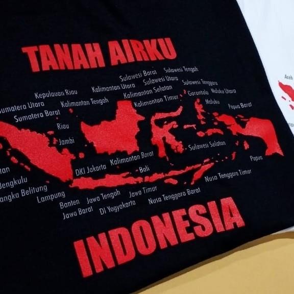 Foto Produk Tshirt Kaos Baju Pria Wanita Distro Murah Tanah Airku Indonesia - TanahAI Hitam, XXS dari Winnie Collection