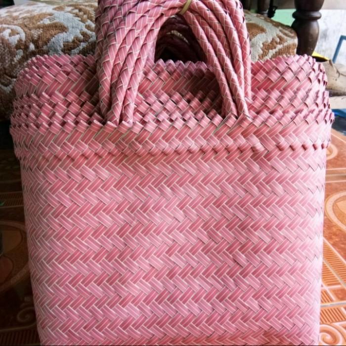 Foto Produk tas anyaman polos L (Jumbo) - Merah Muda dari beebeeonlineshop