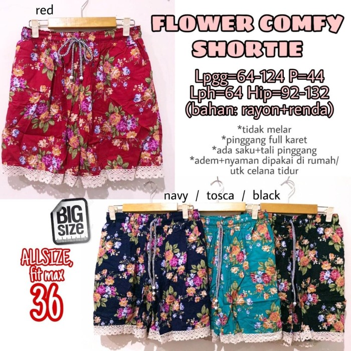 Foto Produk Flower Comfy Shortie size 36 Celana Pendek Rumah Wanita Ukuran Besar dari Shop With Mali