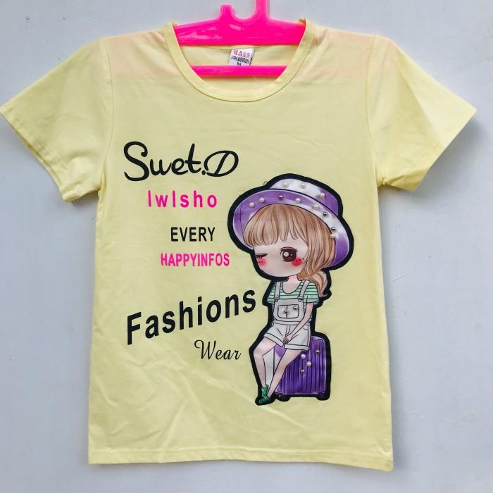 Foto Produk Baju Atasan Kaos Anak Perempuan Lengan Pendek Murah 6-7 Tahun dari nadisyastore_
