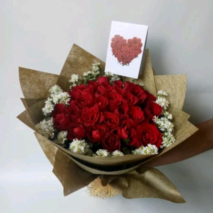 Jual Bucket Bunga Mawar Merah Asli Buket Ulangtahun Jakarta Barat Nawra Home Flowers88 Tokopedia