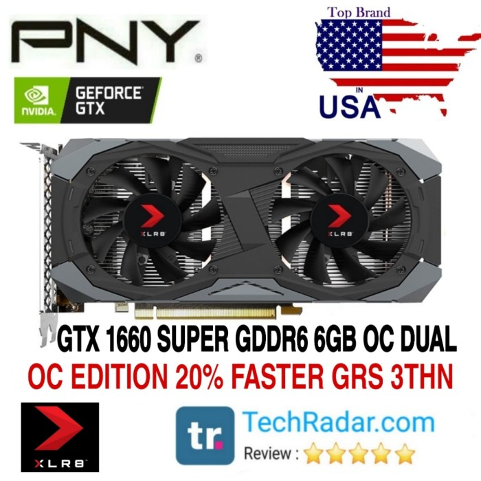 Foto Produk VGA PNY GTX 1660 SUPER OC 6GB DDR6 OC DUAL FAN XLR8 GAMING GRS 3 THN dari GRACE SHOP27