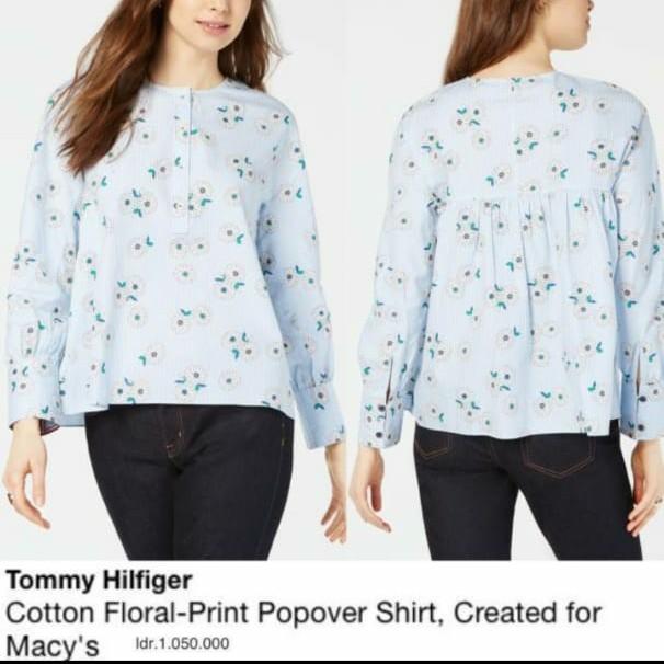 Foto Produk Tom*y Hilfig*r cotton floral blouse - M, floral popover dari Jualan meriah