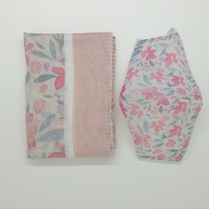 Foto Produk Paket 1B Lebaran Hampers: Premium Scarf Voal Square dan Masker Kain - Bunga Pink, Voal jahit dari Seruni Living