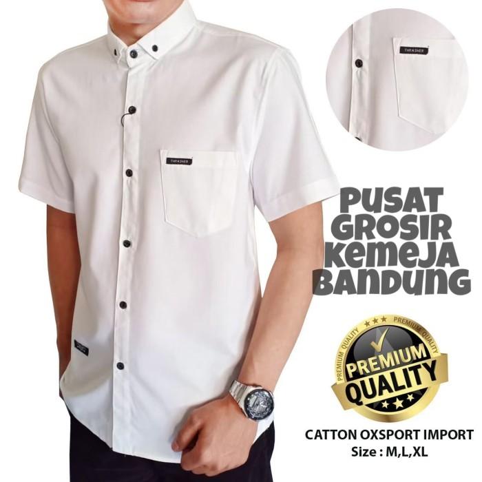Foto Produk kemeja putih polos pria lengan pendek - kemeja polos premium - kemeja - Putih, M dari pusat grosir kemeja bandung