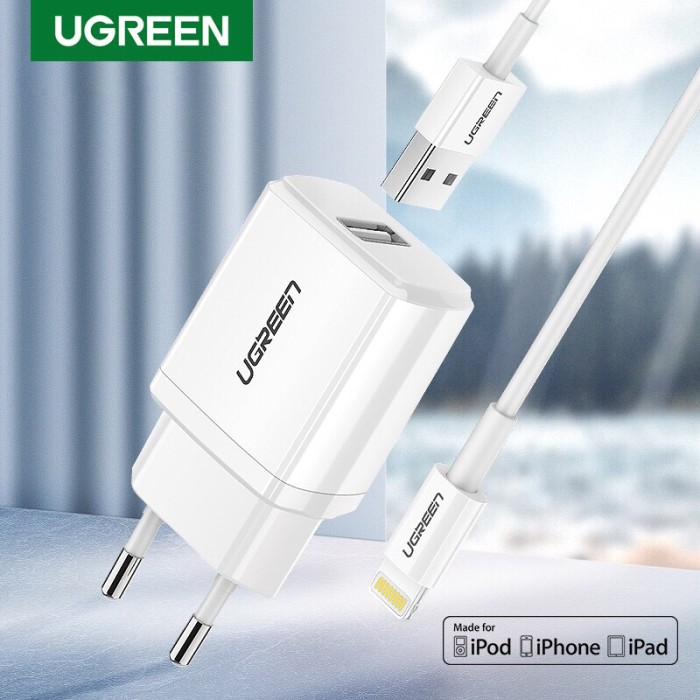 Foto Produk Ugreen 5v 2,1A MFI charger For Iphone with 1M cable White- Com50460 dari Ugreen ID