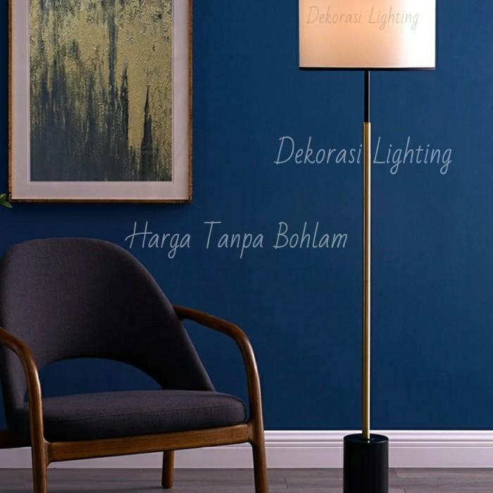 Jual Lampu Standing Minimalis Modern Floor Lamp Hitam Gold Ruang Tamu Dekor Jakarta Pusat Dekorasi Lighting Tokopedia