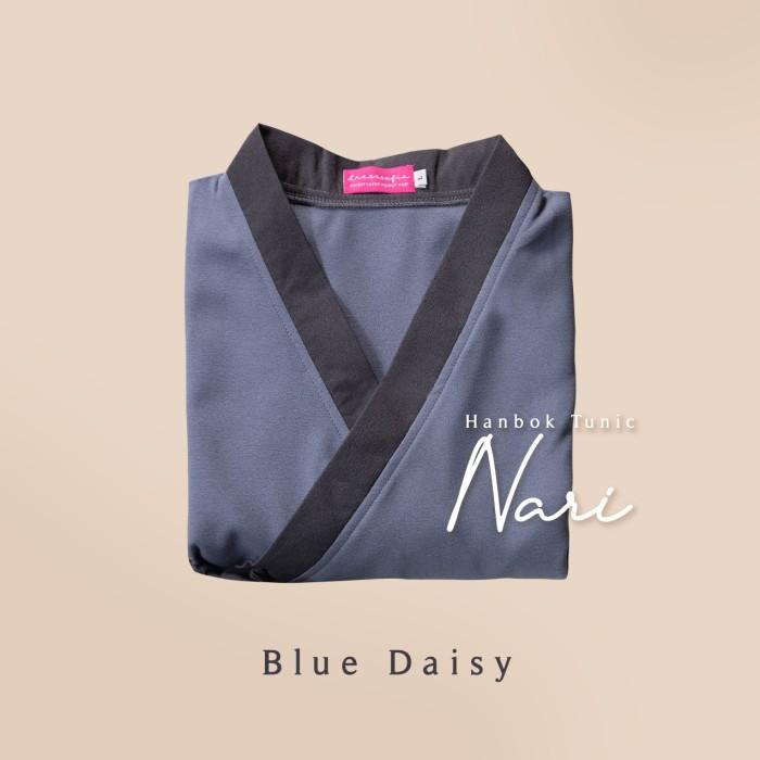 Foto Produk Hanbok Nari Tunic / Tunik / Mididress - Blue Daisy, S-M dari sheenofficial