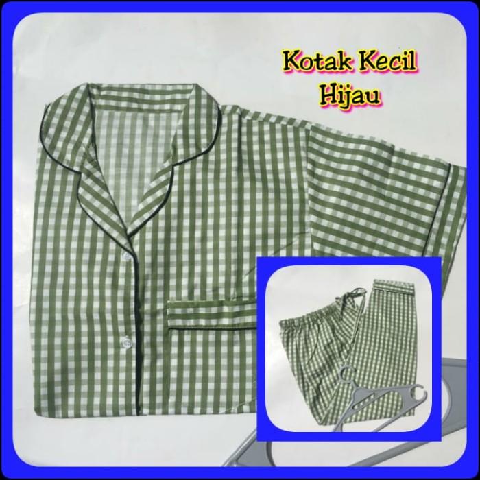 Foto Produk Piyama Katun Dewasa Kotak Kecil Hijau - Celana Pendek dari Jasmine Clothing Line