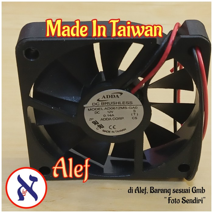 Foto Produk Kipas Fan DC 12V Power 6 x 6 x 1.2 cm 6cm tipis dari Alef