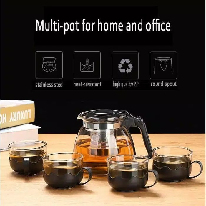 Foto Produk TEA POT SET 5 IN 1 TEKO KACA SARINGAN (FREE BUBBLE WRAP) dari RajaSquishy