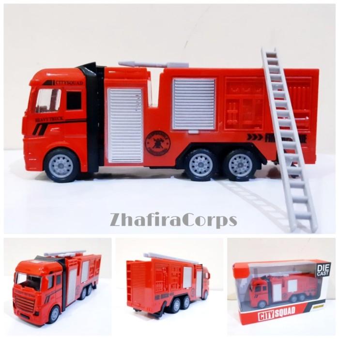 Foto Produk Diecast Truk Pemadam Kebakaran Alloy Miniatur Mobil Fire Truck Damkar dari ZhafiraCorps