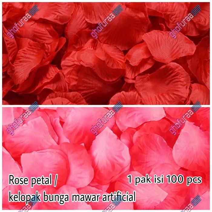 Foto Produk Rose Petal isi 100 pcs - Kelopak bunga mawar merah artificial palsu dari ghofuraa shop