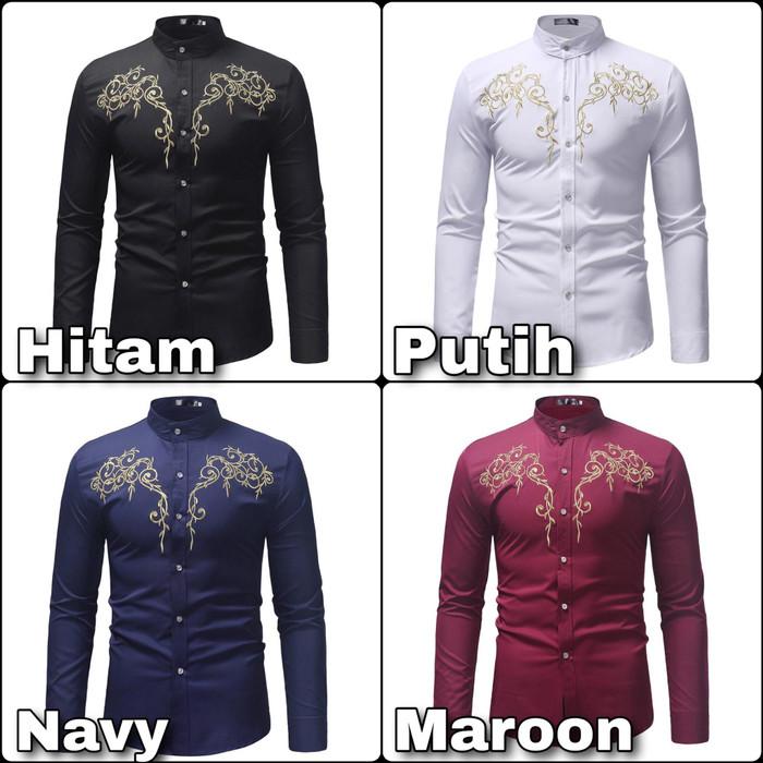 Foto Produk Kemeja Cowok Pria Model Baju Koko Motif Bordir Asli Lengan Panjang dari Rifa t-shirt