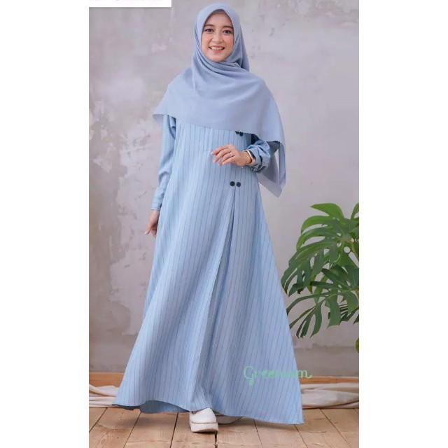 Jual Gamis Katun Madinah Motif Garis Syari Busui Jasmin Dress Greenism Soft Blue Xs Kota Semarang Hijab Alinaa Tokopedia