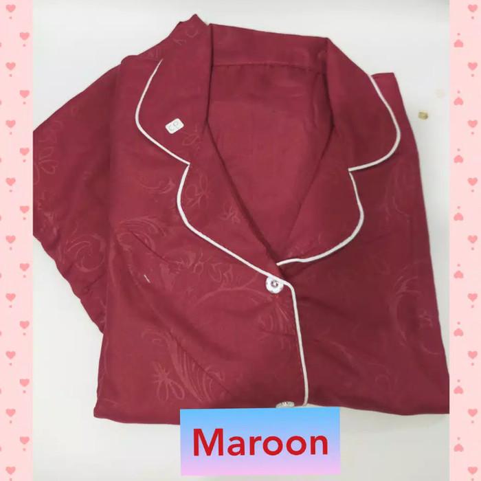 Foto Produk PIYAMA CANTIK HP Ld.104cm bahan Katun Emboss Adem/Piyama/Pajamas - Maron dari cantik piyama