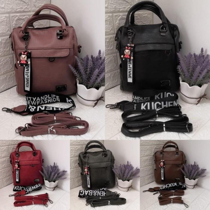 Foto Produk Ransel Import Wanita Tas Multifungsi bisa Ransel Selempang Handbag - Hitam dari KebunKoe