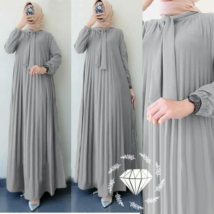 Jual Baju Gamis Wanita Terbaru Pauline Bahan Moscrepe Full Plisket Jakarta Pusat Azmi Busana Muslim Tokopedia