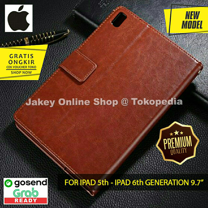 Foto Produk Case IPAD 5 IPAD 6 9.7 inch FLIP COVER WALLET leather casing cover hp - Hitam dari Jakey Online Shop