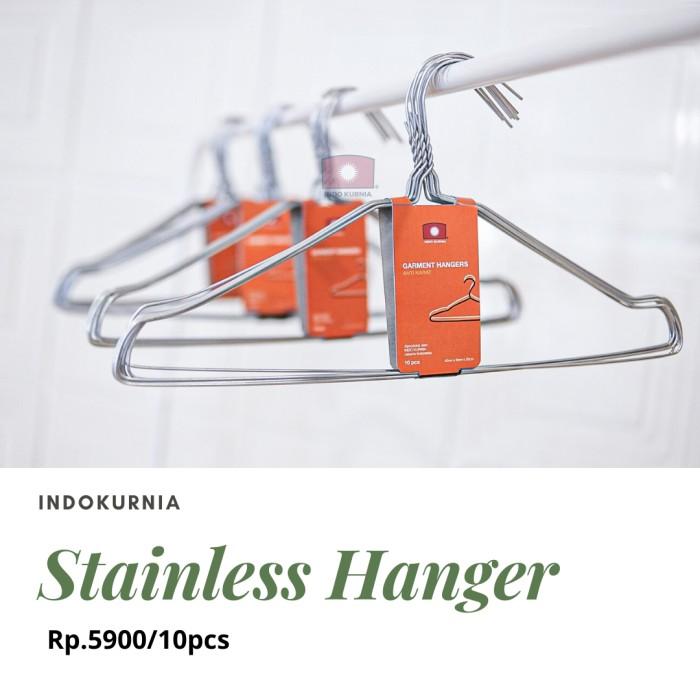 Foto Produk 10 pcs gantungan hanger kawat baju stainless steel Indokurnia dari Indokurnia
