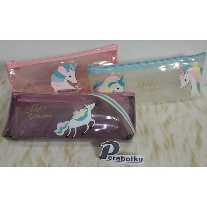 Foto Produk Tempat Pensil Unicorn Kuda Transparan 31676/Wadah Kotak Kosmetik - Merah Muda dari Perabotku