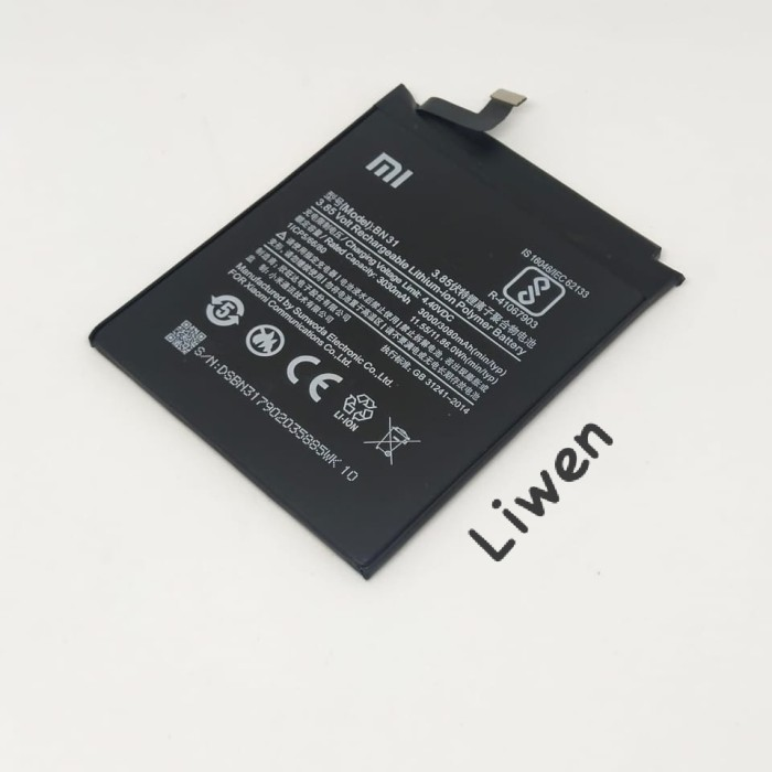 Foto Produk batre batrai baterai xiaomi redmi note 5a mi a1 mi 5x bn31 bn 31 dari Liuwen shop