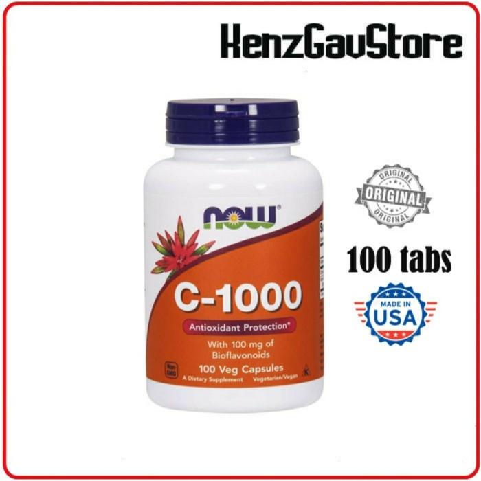 Foto Produk VITAMIN C 1000 mg NOW, With Bioflavonoids Antioxidant Protection - 100cp Bioflav dari KenzGavStore