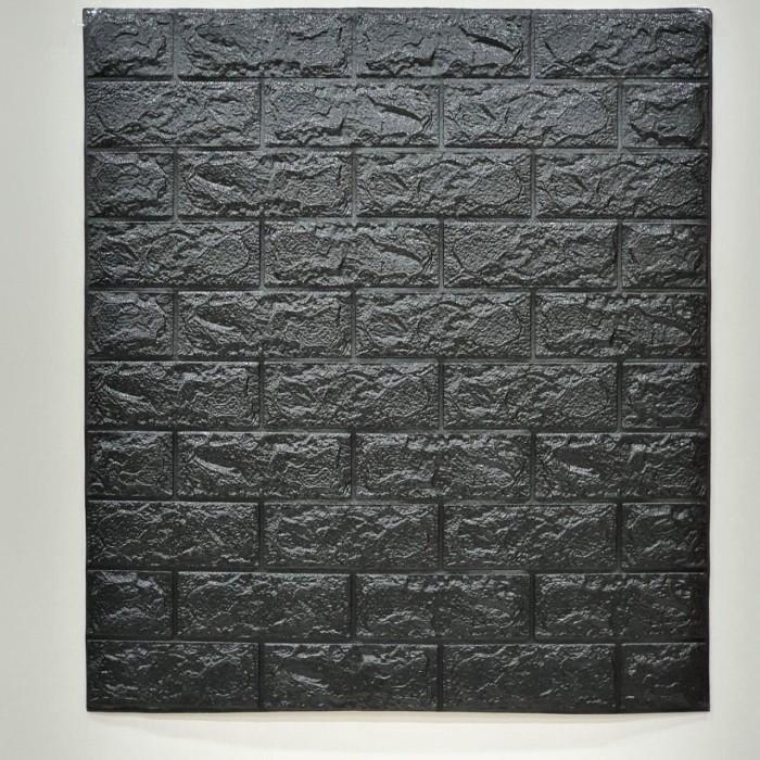 Foto Produk Wallpaper Dinding 3D Bata 70 x 77 cm Brick Foam - Bata Hitam dari Maju Interior