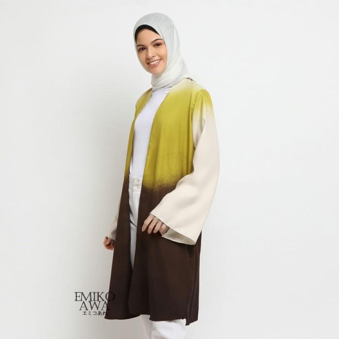 Foto Produk Outer Panjang Gradasi Kuning - Emikoawa Cape Wanita Muslim Cardigan dari emikoawa