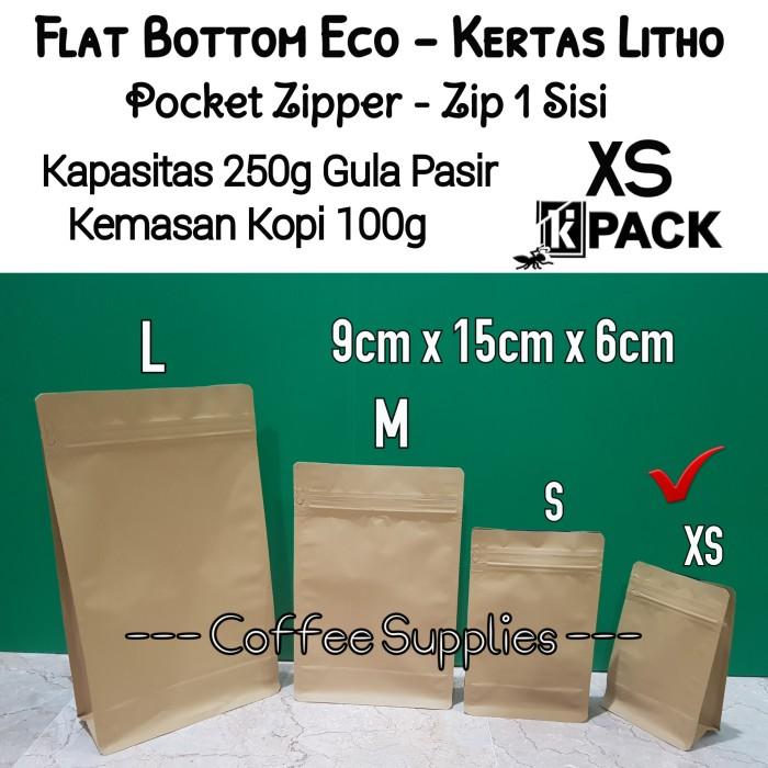 Foto Produk FLAT BOTTOM ECO XS 250g coffee bag 100g kemasan kopi packaging kraft dari Coffee Supplies