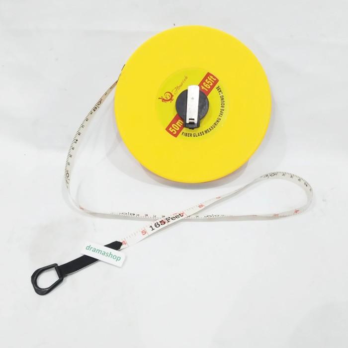 Foto Produk Meteran Alat Ukur Measuring Tape tanah putar 50m 50 m meter dari dramashop