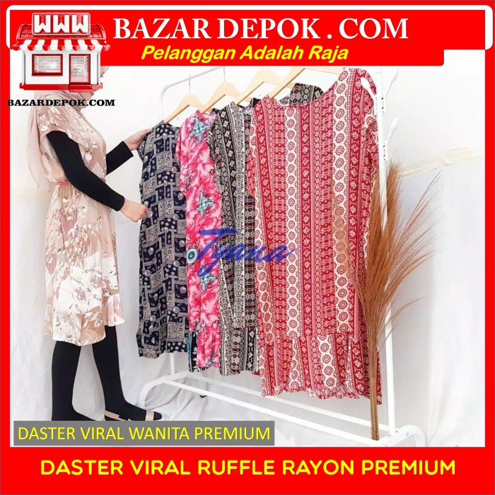 Foto Produk Daster Viral Ruffle Rayon Premium - Coklat Bunga dari Bazar Depok
