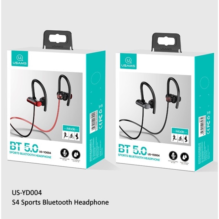 Foto Produk usams hf handsfree earphone bluetooth 5.0 hanging neck sport s4 run dari Vilox