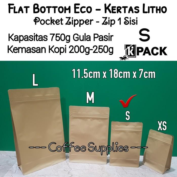 Foto Produk FLAT BOTTOM ECO S 750 kemasan kopi 200g 250g craft packaging pouch zip dari Coffee Supplies
