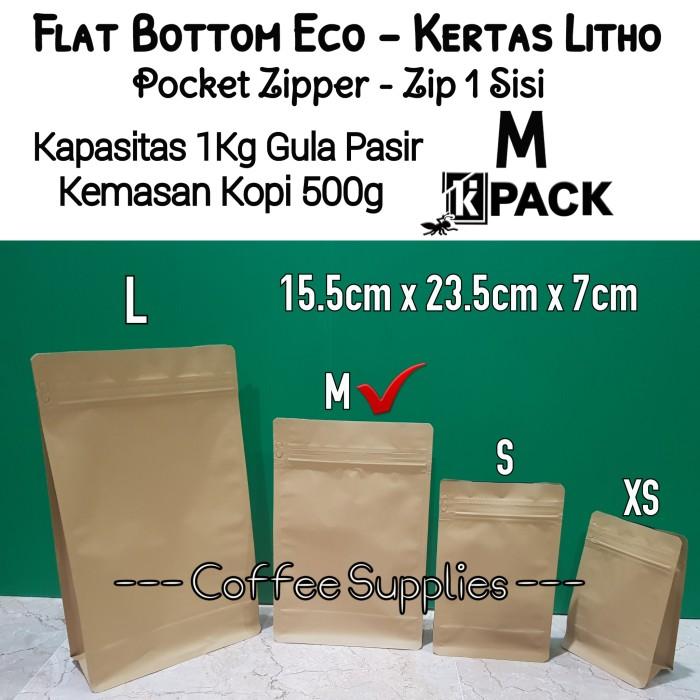 Foto Produk FLAT BOTTOM ECO M 1kg coffee bag 250 500g kemasan kopi packaging craft dari Coffee Supplies