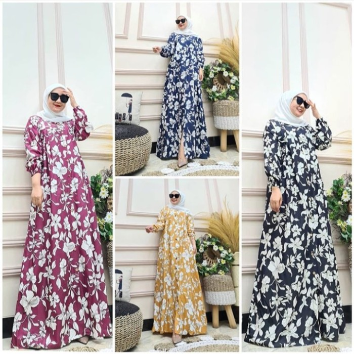 Jual Maxi Dress Busui Gamis Motif Bunga Baju Syari Mayung Kancing Hidup Kota Tangerang Jack Queen Shop Tokopedia