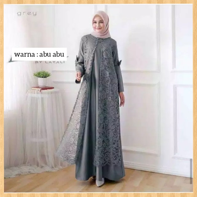 Jual Long Dress Muslim Wanita Terbaru Baju Gamis Satin Brukat Maxi Abu Abu Kota Bandung Sarung Tenun Bandung Tokopedia