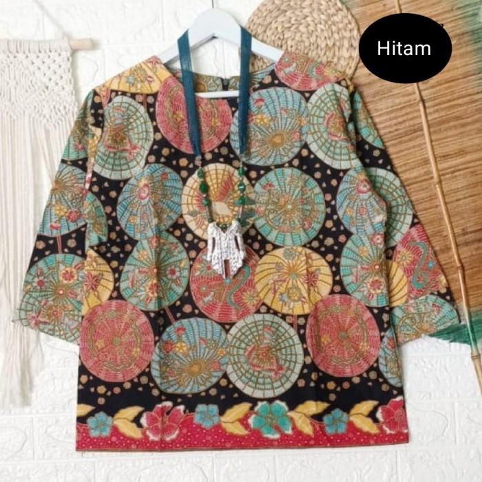 Foto Produk atasan batik wanita umbrella top - Hitam, M dari Batik Sri