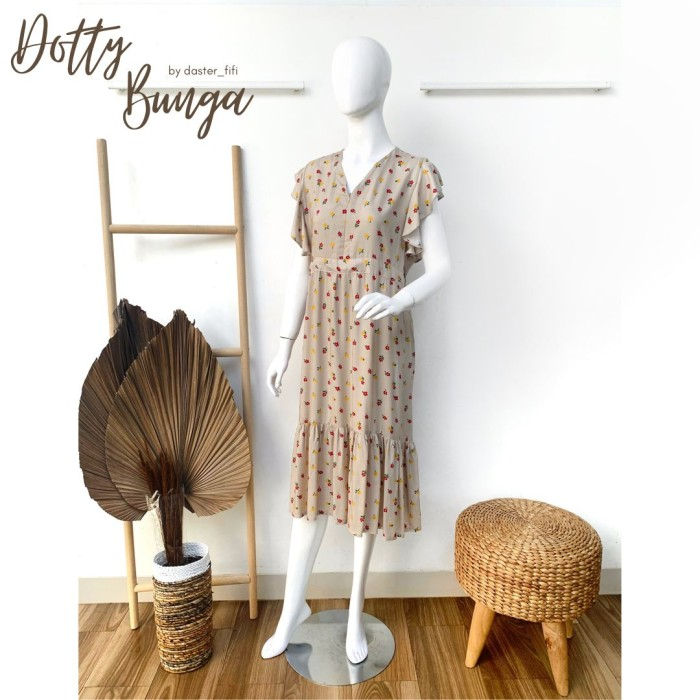 Foto Produk Daster Dotty Bunga by Daster Fifi - krem, all size dari Mabel's shop