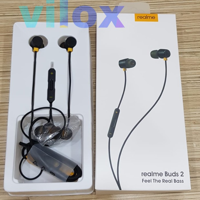Foto Produk hf handsfree earphone realme buds 2 jack 3.5mm magnetic dari Vilox